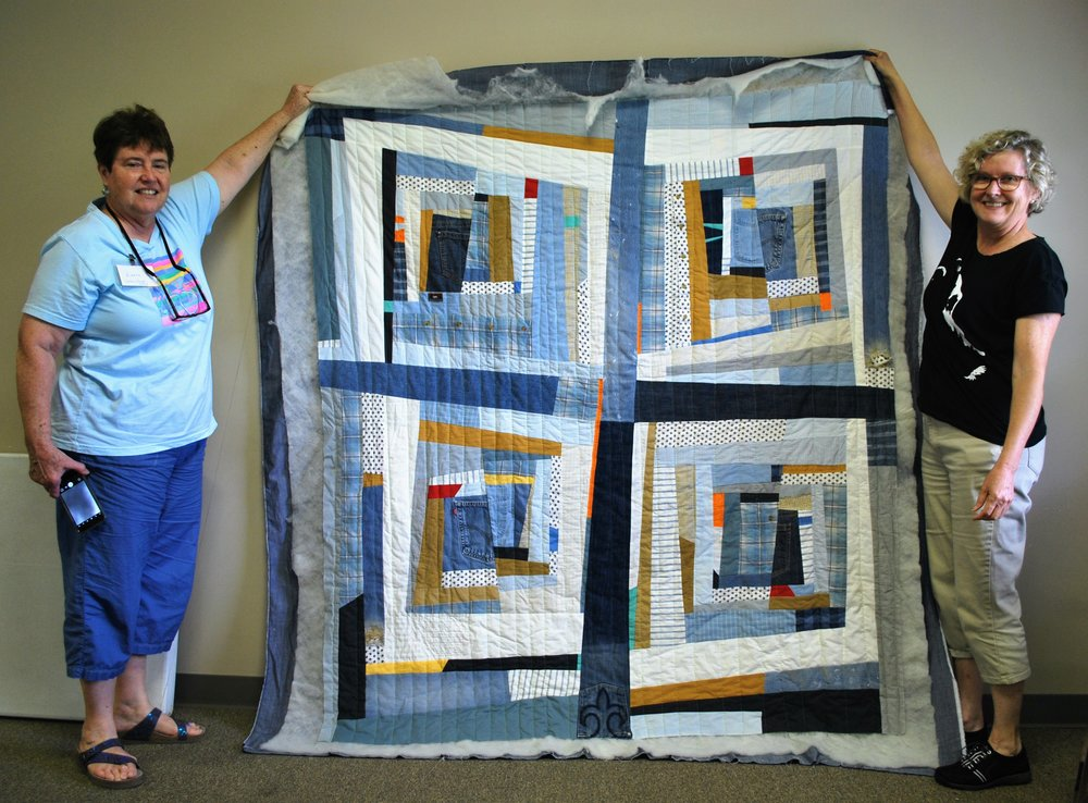 This Gee's Bend-inspired quilt was made by Leslie Wade (right)