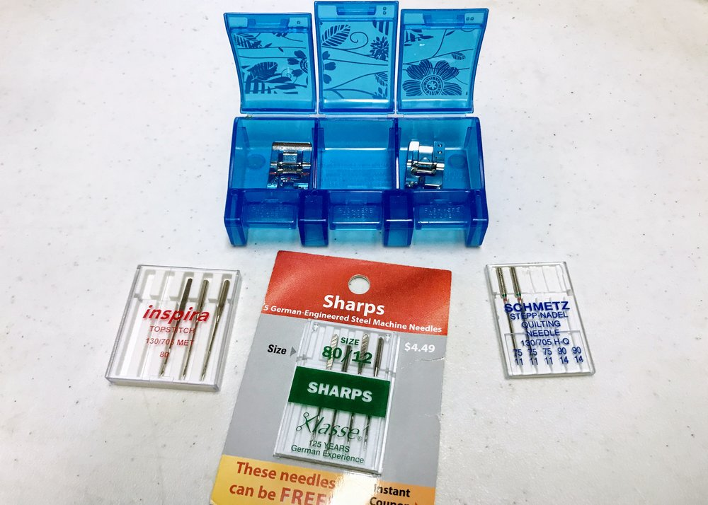 Use the right needle for the job! And check out Karen's pill-box presser foot storage system.