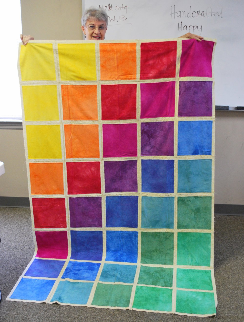 Quilt top with silk fabric by Karen Sperry