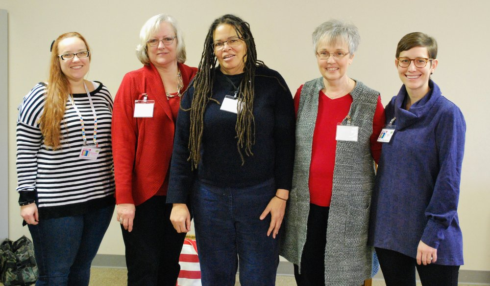 Outgoing 2018 board members: Stephanie Quesinberry; membership; Karen Downer, membership; Vanessa King, treasurer; Patricia Steadman, secretary; and Kelly Spell, president and communications.