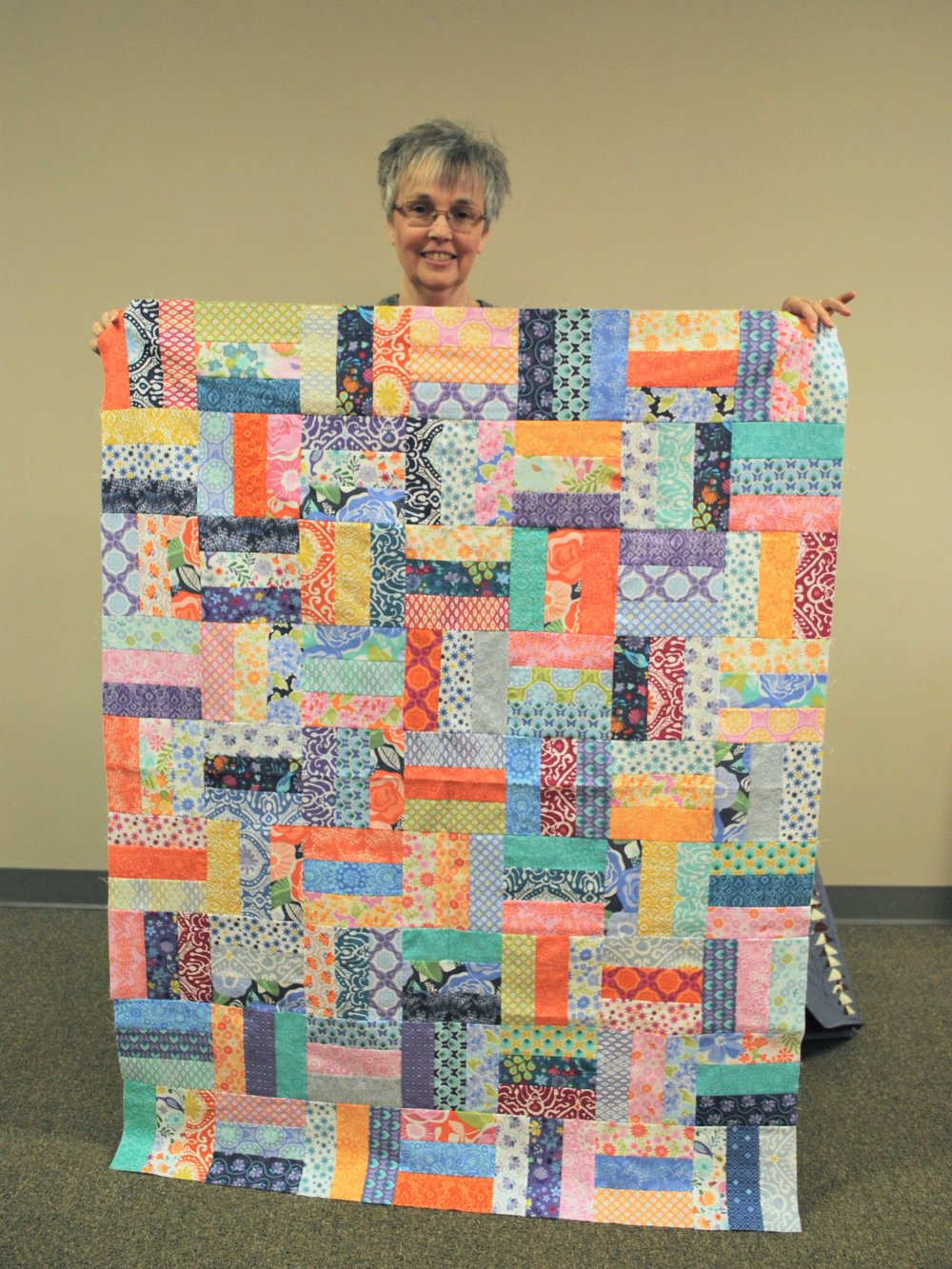 Patricia's Colorful Rail Fence Quilt Top