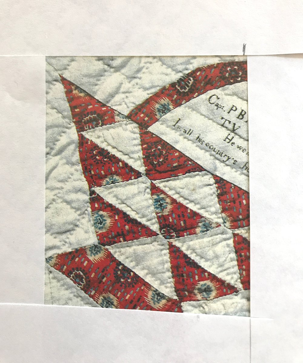 Jean used a paper frame to suggest the design for our modern basket quilt.