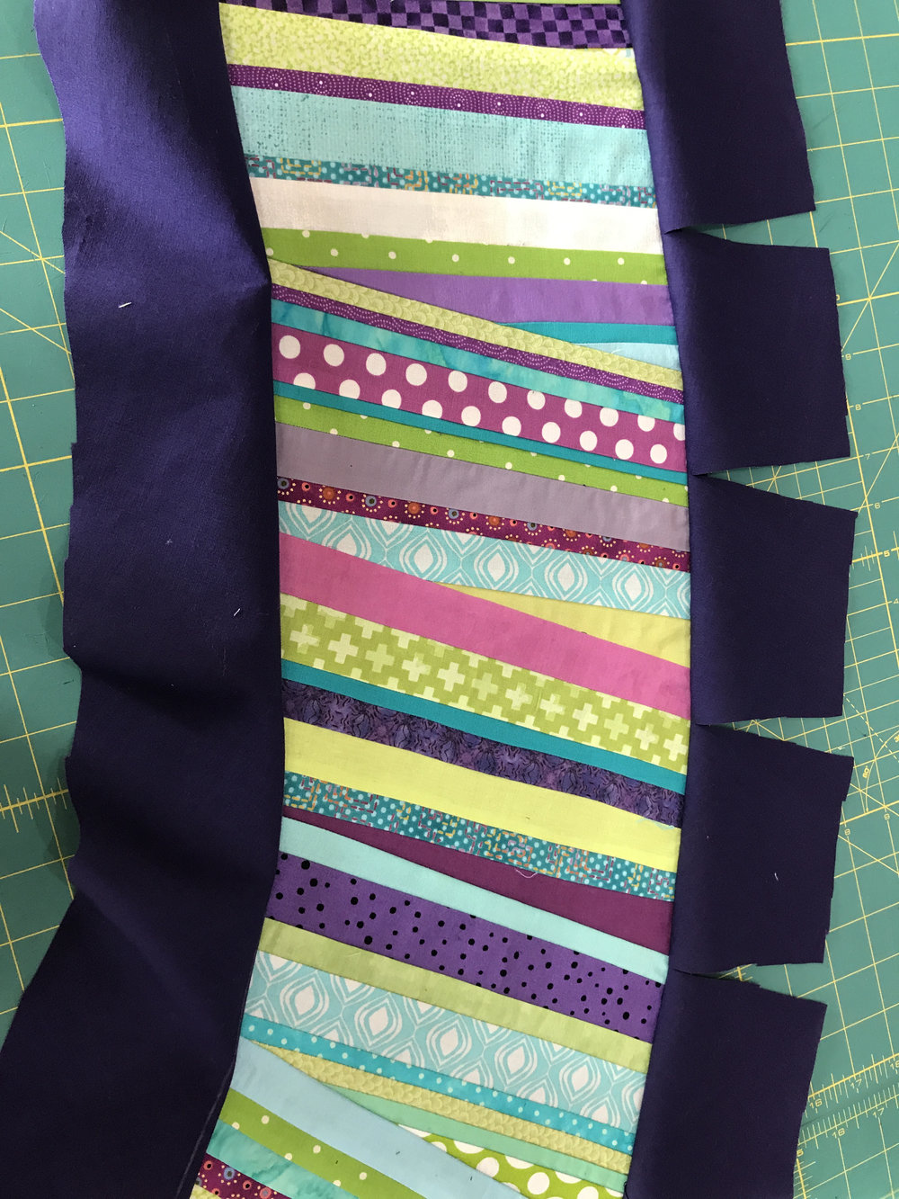 We used the sew-and-turn method of applique on the handle.