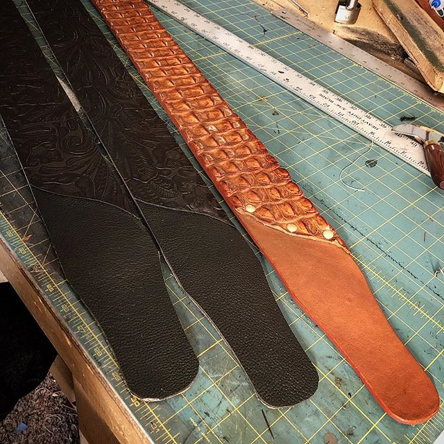 Friday night guitar strap making!