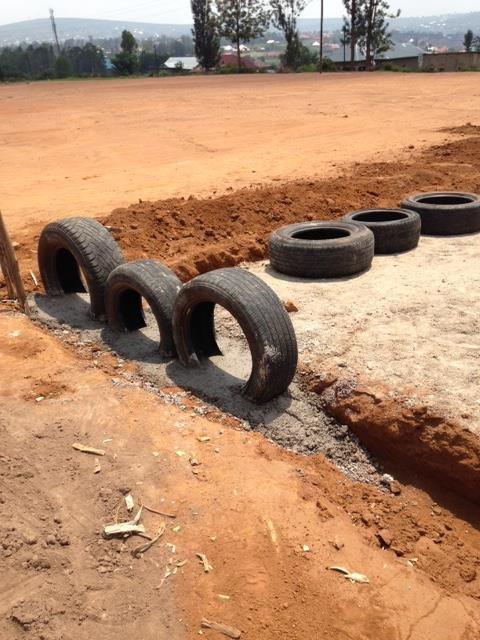 Tires for the perimeter of the playground