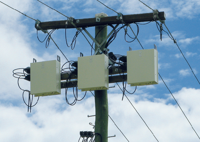 A trio of Pacific Volt LVR Voltage Regulators on duty in Queensland, Australia since 2008.
