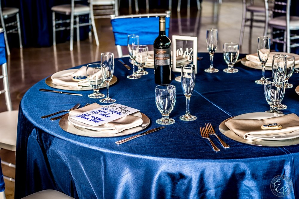 Tablescape & Table Rentals by Platinum Event Rentals  Signage by Lovely Lina Designs