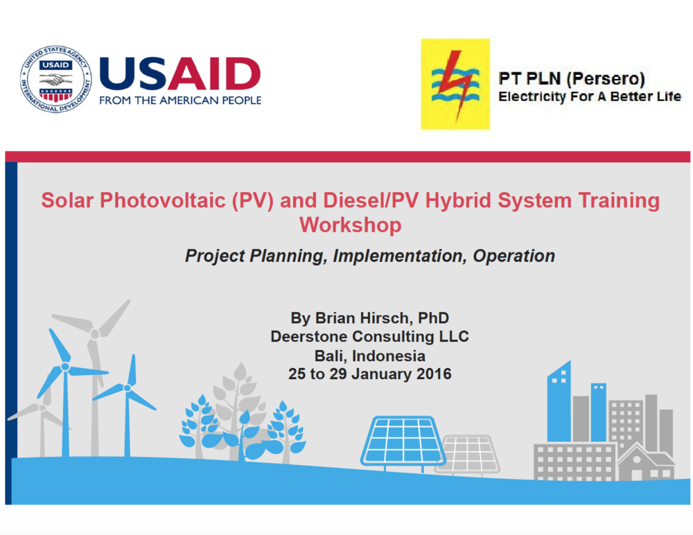 Solar Photovoltaic (PV) and Diesel/PV Hybrid System TrainingWorkshop