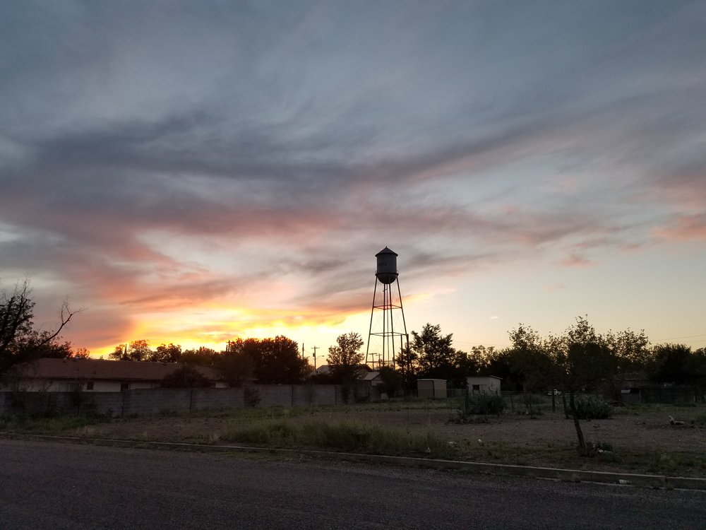 Marfa, Texas. Water tower at sunset.