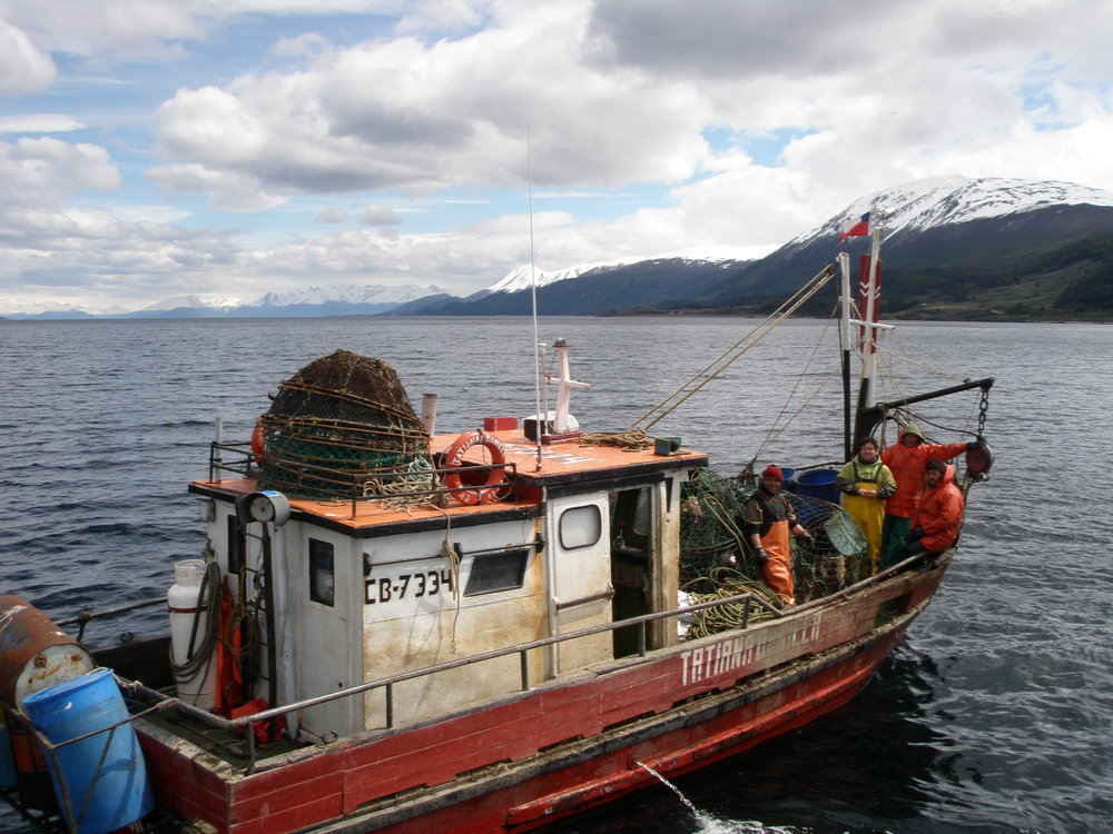 Fishing boat in Beagle Channel, a strait in the Tierra del Fuego archipelago. Across the channel you can see Chile.
