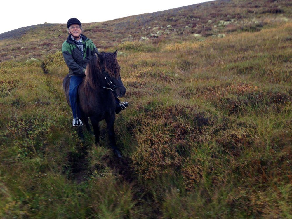 Riding an Icelandic horse.