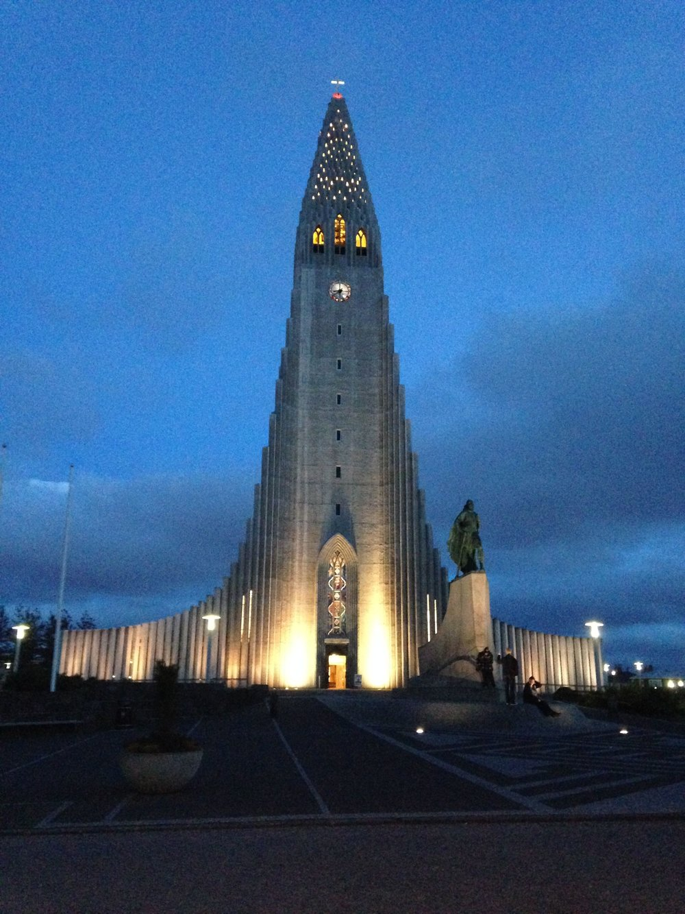 Hallgrímskirkja at night. Located at the top of a hill in Reykjavik's historic district.