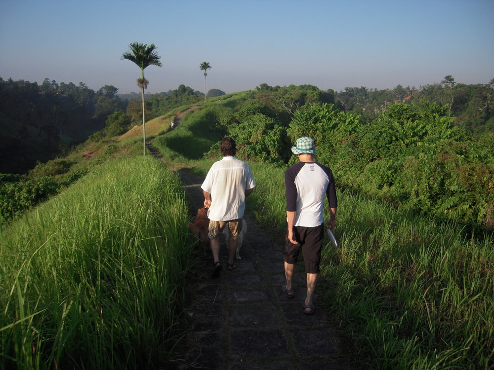 BALI 2014. Joel Singer and Steve walking Joel's dogs Abelard and Heloise.JPG