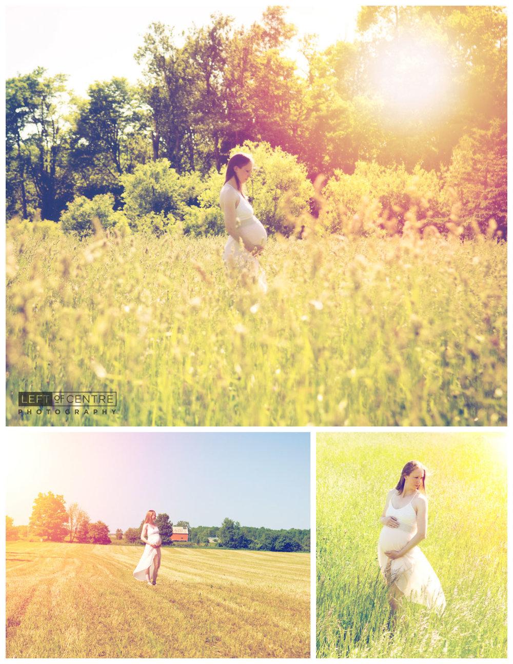 farm field maternity photo collage