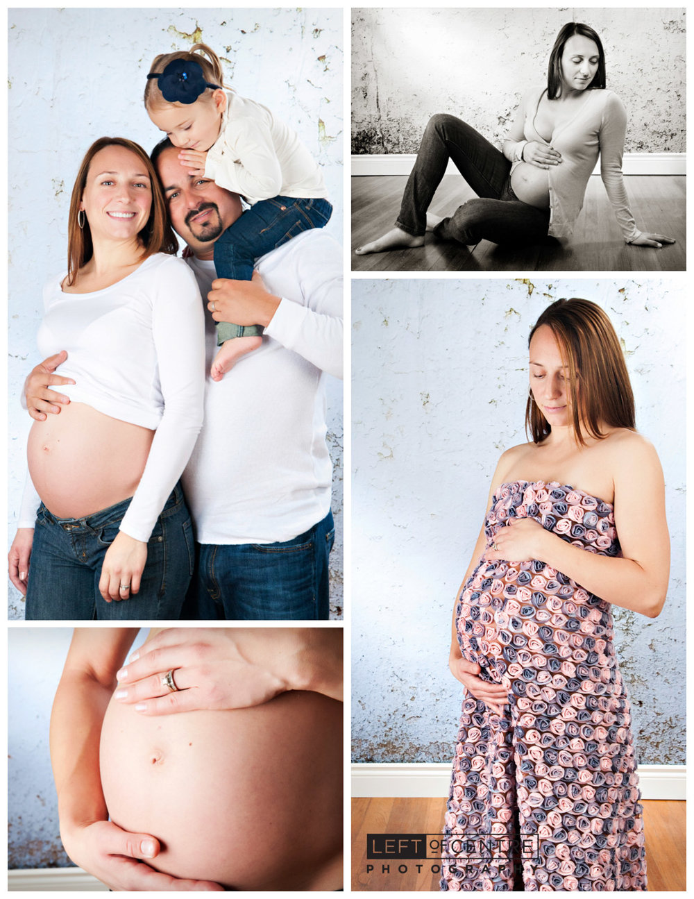 pregnancy family collage in studio