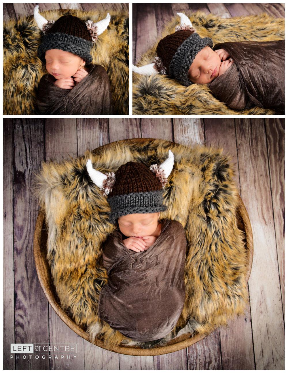 sleeping newborn viking collage