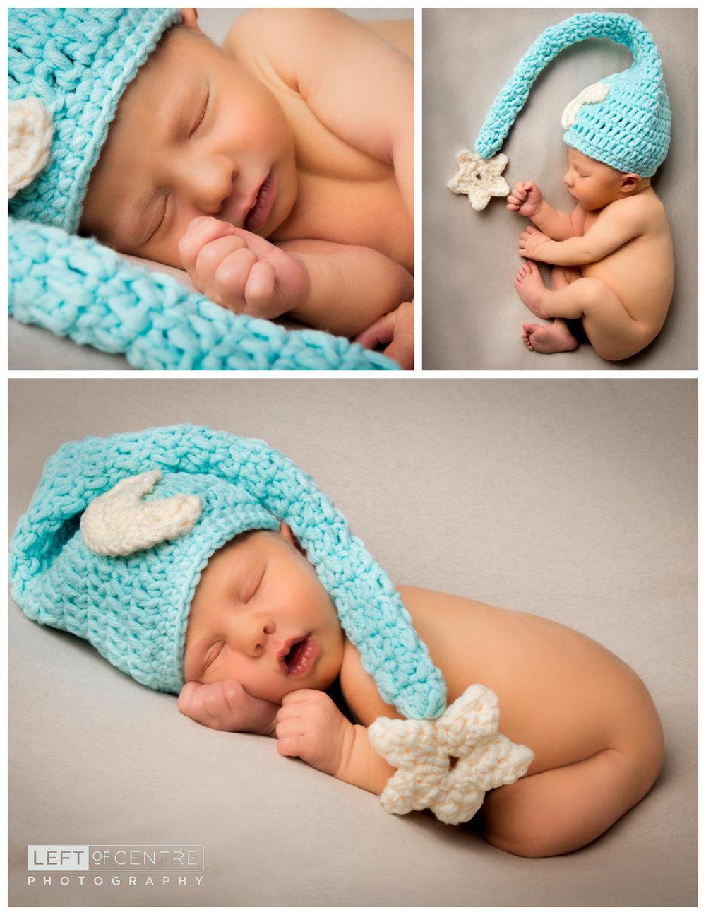 sleeping newborn in nightcap