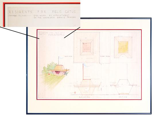 Frank Lloyd Wright's design for Tonken's cat house  (image source)