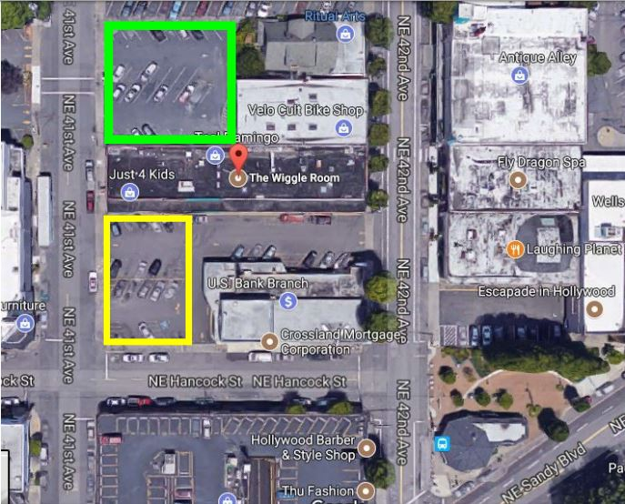 We have on-site parking at The Wiggle Room! The best place to park is within the green box, which is accessed off of 41st Ave. While the yellow box is available, it is not ideal as it is shared with the bank and the other businesses only accessible from that side of the building. The Wiggle Room has its own entrance to that back parking lot (IN GREEN).