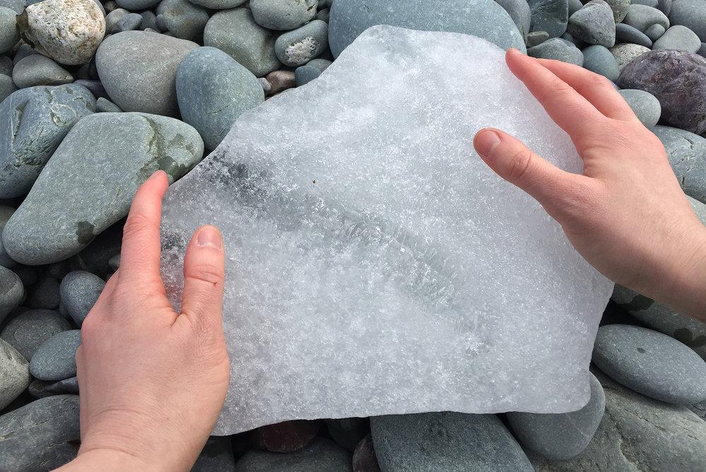 transference  , 2017 Atlantic sea ice, body heat; site responsive performance/document East Coast Trail, Newfoundland  supported in part by  La Soupée ,  Diagonale , Montréal QC