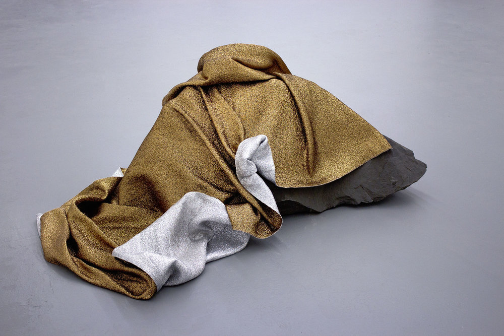 (emergency) (space) blanket for the moon  , 2016 hand-woven bronze and silver mylar thread (satin weave), rundle boulder 22.5 x 51 x 35.5 in.   TRUCK Contemporary Art , Calgary AB
