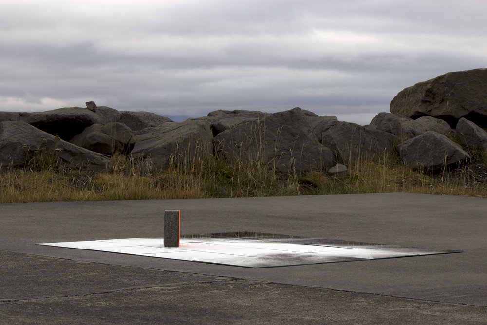 buoy for those between the spray and sky  , 2013 mirrors, glass microspheres, concrete, spray paint, natural light 4.5 x 47.5 x 47.5 in.  Skagaströnd, Iceland