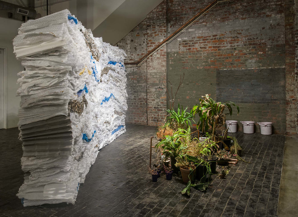 Zena Zakanycz MFA , 2016  Virginia Commonwealth University   primary advisor and thesis committee member   Zena addressed the lifespan of materials, spaces, and beings through this installation. She installed a wall of used air filters alongside dead or dying plants she collected. Each evening, Zena mopped the gallery with cleaning chemicals, and used this dirtied solution to water the plants.