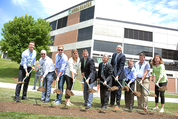 UVU leaders and donors break ground on the NUVI Basketball Center. The $3.5 million practice and conditioning facility is for the UVU men's and women's basketball teams.