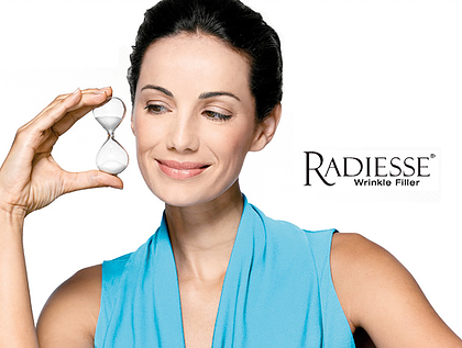 Radiesse - Radiesse is the affordable, effective, long lasting filler. Radiesse volumizing filler is unique as a scaffold under the skin, providing structure and stimulating your own natural collagen to grow. Unlike HA(Hyaluronic acid), Radiesse is a calcium based filler calcium Hydroxylapatite(CaHA), a constituent of bone cartilage in a creamy injectable form.Collagen is what gives volume, flexibility and strength to healthy, young skin. As a part of the aging process, your own natural collagen breaks down, diminishing facial volume and elasticity. This loss of elasticity and volume results in wrinkles, facial lines and skin laxity all of which rob your skin of its youthful, fresh appearance. Radiesse comes in a larger 1.5ml syringe, which is 50% more volume, and as such, is great value compared to other fillers
