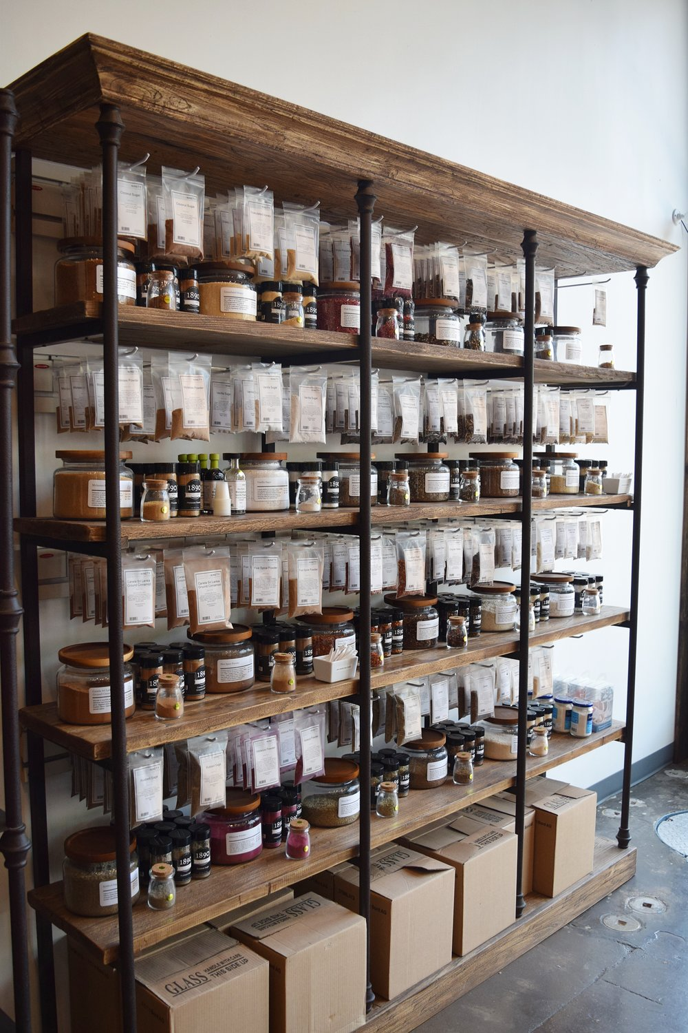 1890 market place spice shelves