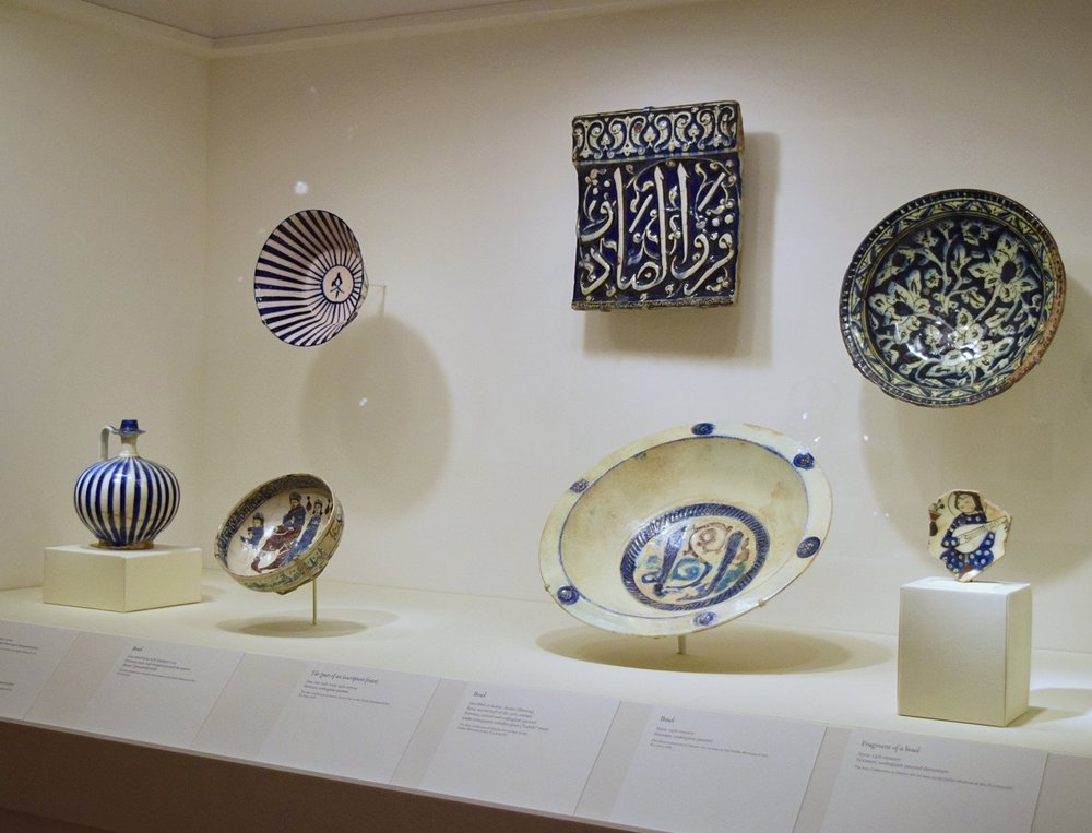 blue and white pottery from art of islam exhibit at dallas museum of art