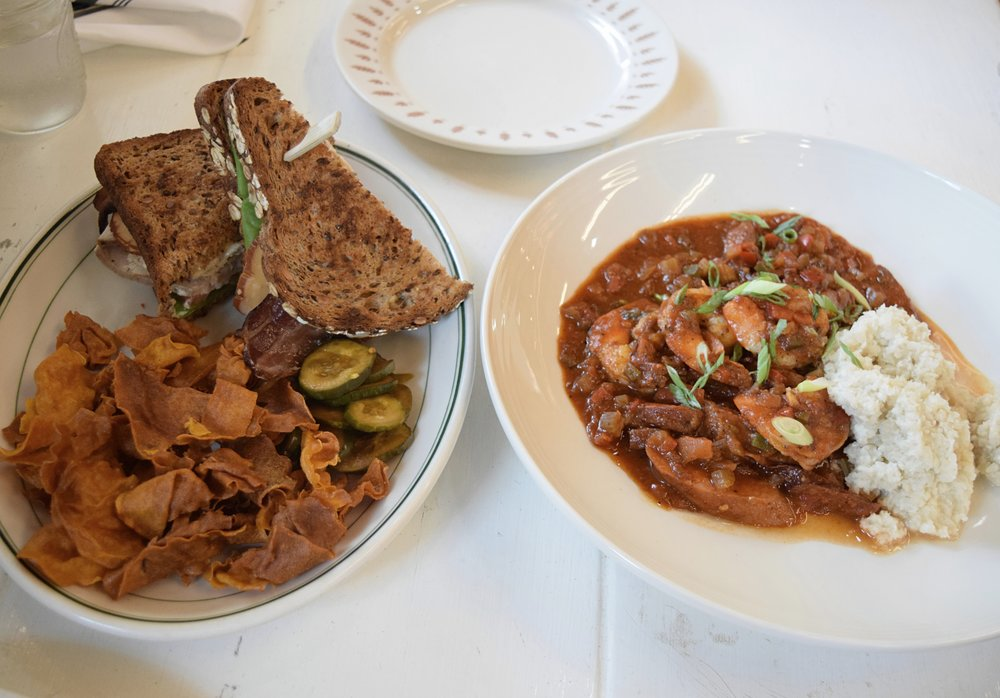 Sweet potato chips, homemade pickles and jumbalya with cauliflower rice at Mudhen in Dallas, Texas