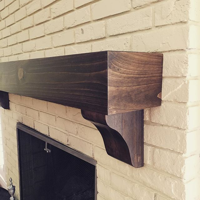 Beautiful wood fireplace mantel install for a client! #wood#mantel#alisonbainedesign