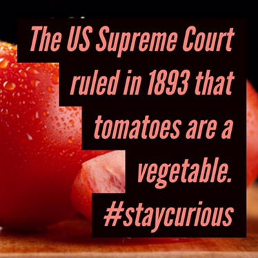 the us supreme court ruled in 1893 that tomatoes are a vegetable