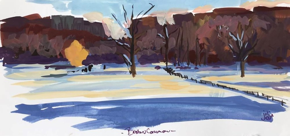 Boston Common Gouache Study