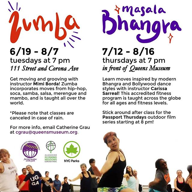 What better way to spend summer evenings than dancing in Flushing Meadows? Free #zumba classes start this month! And don't miss #masalabhangra in July!! Bring your fam, friends, neighbors, and a water bottle out to the park and groove into the sunset. Swipe to share Spanish and Hindi translations!  #fmcpcommunity #freefitness #parksforpeople #flushingmeadows #dancingqueens #coronaqueens