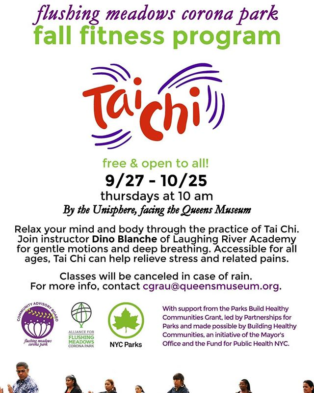Starting tomorrow, we're hosting free Tai Chi classes on Thursday mornings at 10am in front of the Queens Museum and the Unisphere!  Tell your friends and fam!! See Hope to see you there!  Swipe for Chinese translation.  #freefitness #fmcoronapark #taichi #unisphere