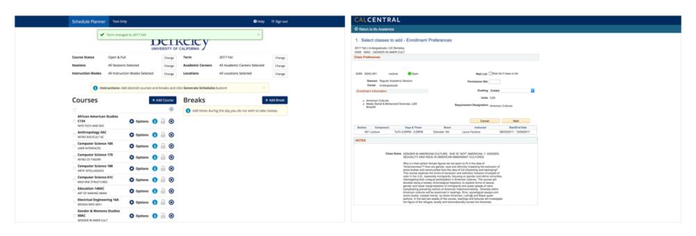 Schedule Planner (left), Enrollment (right)