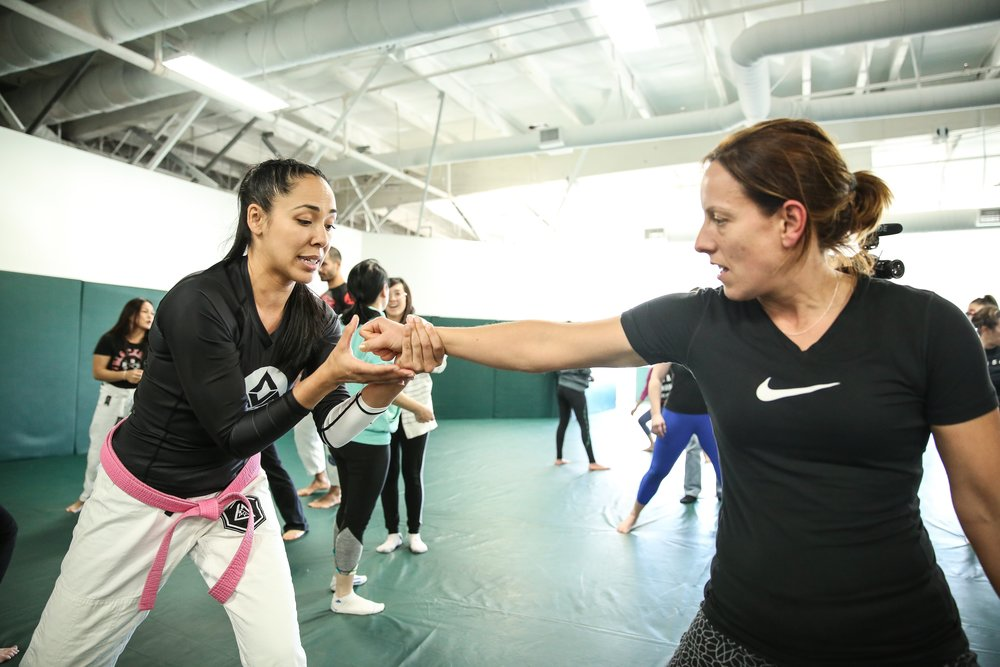 Victoria teaching a self-defense technique at GRacie university headquarters in Torrance, CA.