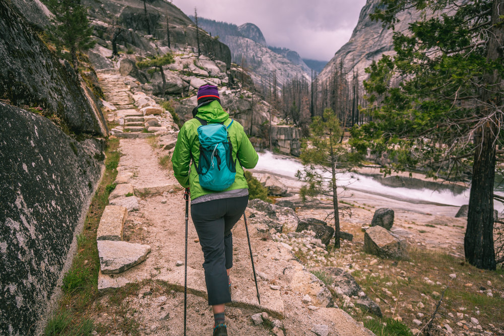 Stacy (@funfergi on Instagram) hiking up the Merced River