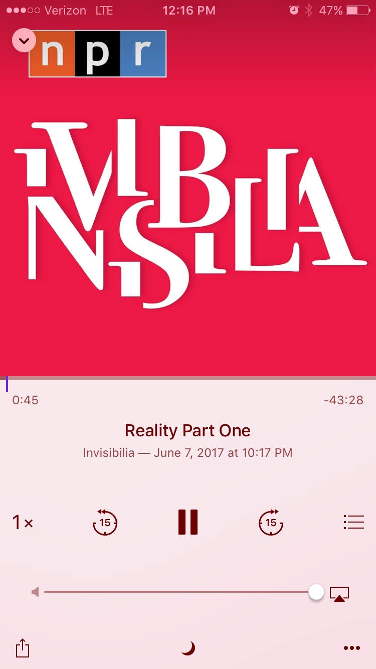 Your perception is your reality - WOW this episode goes in deep. Invisibilia always does a great job of diving into every level of a topic, and in the case of this episode, every facet of a situation is explored from every perspective. Fascinating insight on our perspectives, perceptions, and how our past experiences and pre-engrained societal and cultural notions control the