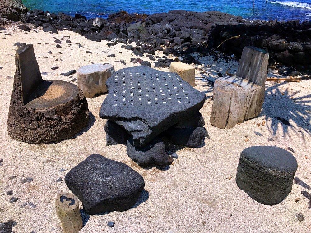An ancient Hawaiian game at The City of Refuge, Hawaii Island