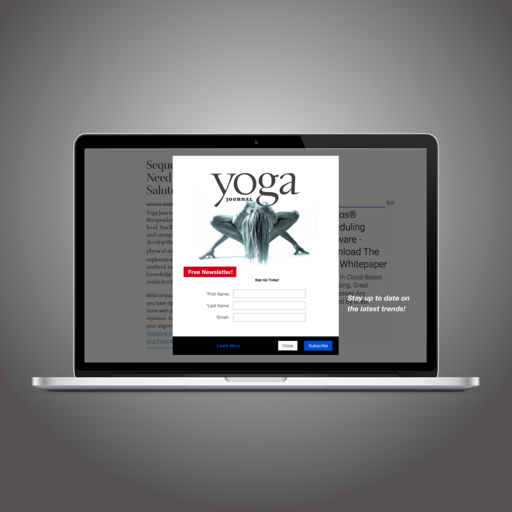 News Letter Overlay- UI Concept Piece Overlays have shown through research to have the ability to significantly increase signup rates over static embedded advertising.