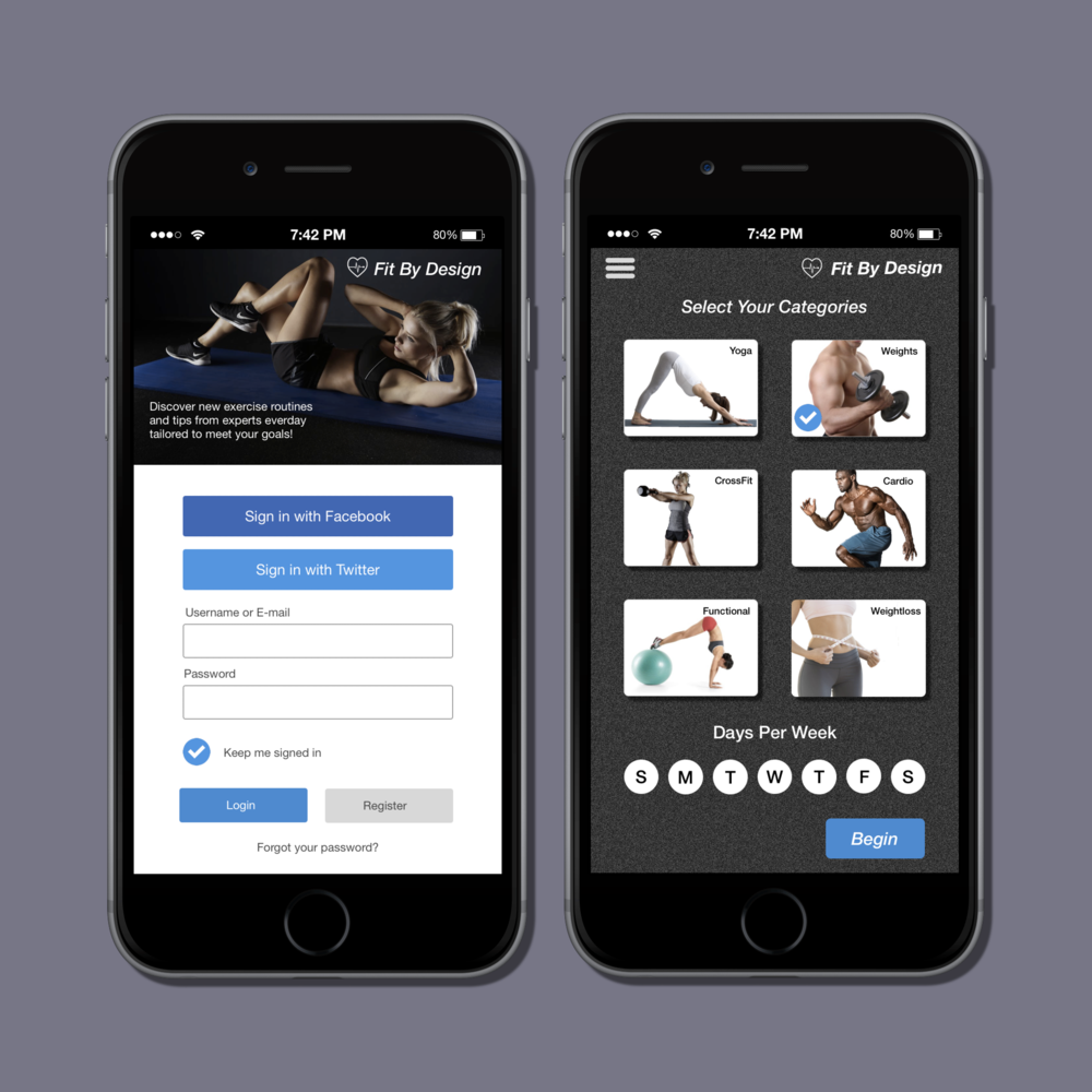 Onboarding -UI concept A fictional fitness app designed as an example of a signup recruiting procedure. This app is an idea for people who desire to tailor their fitness goals by receiving daily exercise routines and tips by experts.