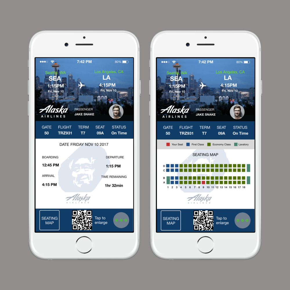Boarding Pass - UI Concept Piece Be able to board a plane with your mobile device through scanning barcode. The blue ribbon on top efficiently saves space as appose to inserting it in the body. Seating map allows you to see ahead of time where you will be sitting. Also shows time remaining before landing.