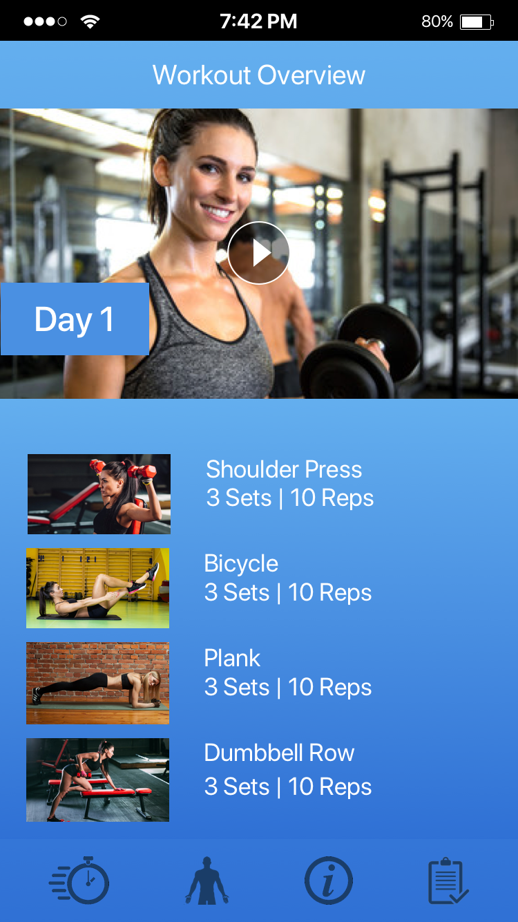 Preview the details of each workout through video and overview list