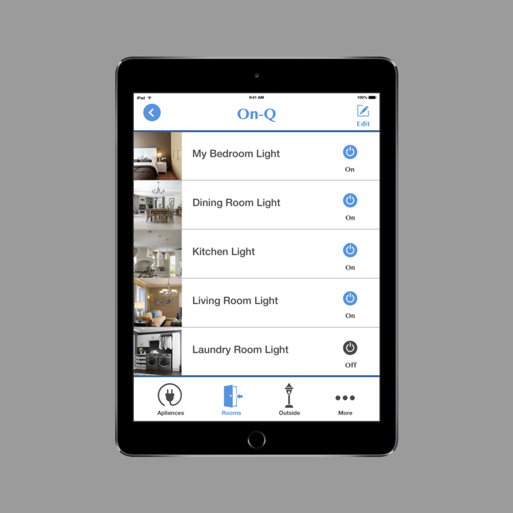 Hand-held light switch app- Concept Piece   Control the lighting inside and  outside your house anywhere with this app. With this app you can also create automatic on/off settings in the timer mode.
