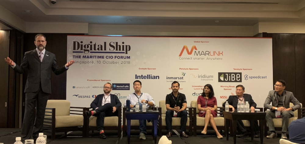 Ronny Waage (nr. 2 from the left) as part of the Innovation and Maritime Startups panel discussion at Digital Ships CIO Forum 2018 in Singapore this week.
