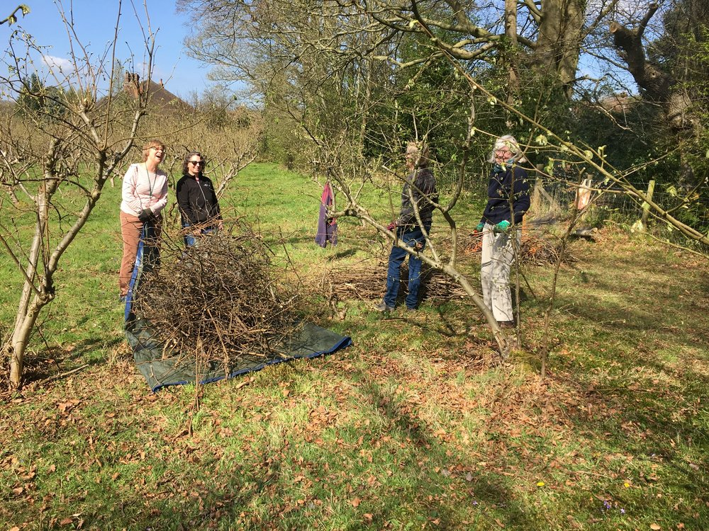 In Autumn - local volunteers clear the prunings ready for a bonfire.