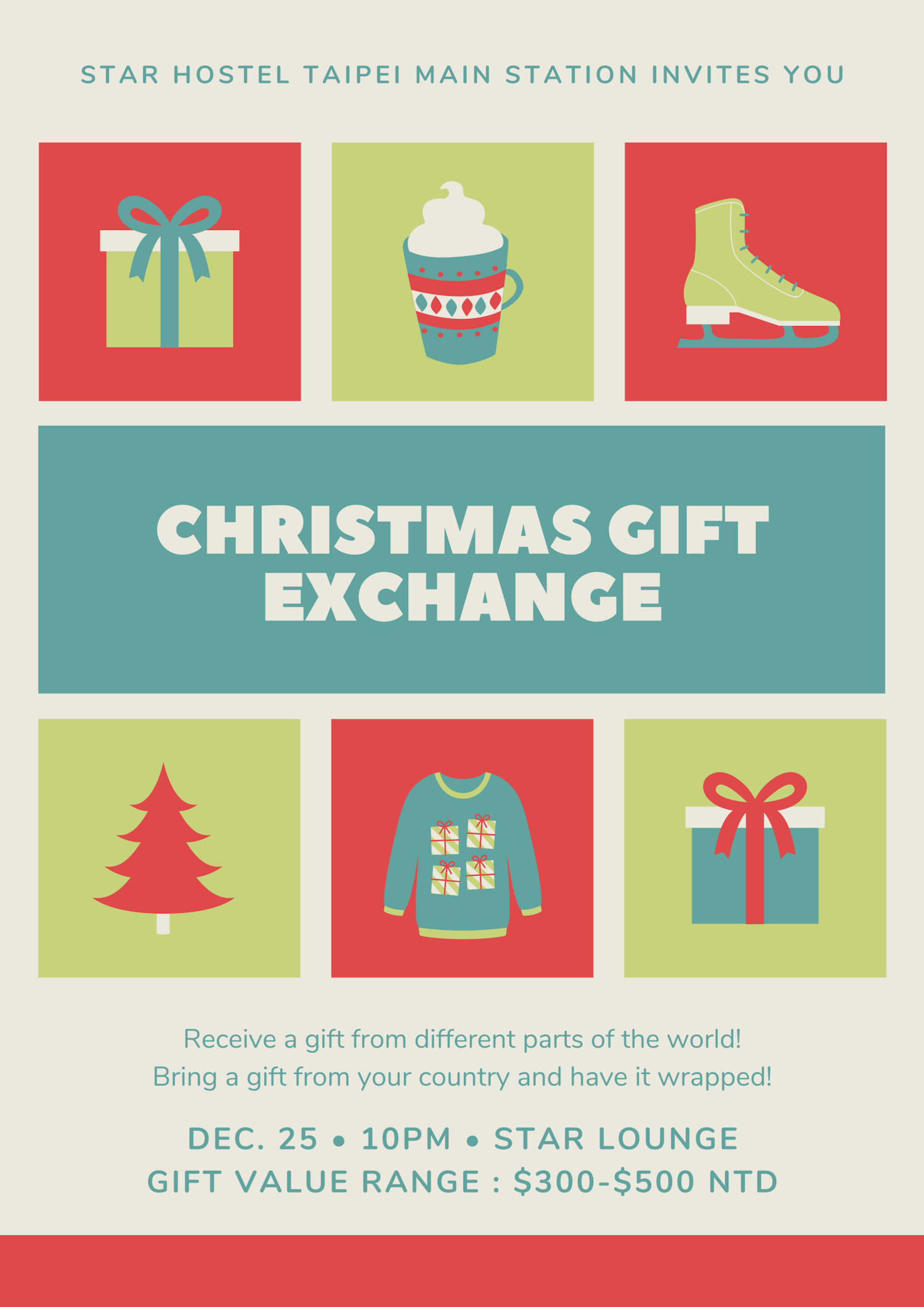 Christmas Gift Exchange.Christmas Gift Exchange Star Hostel Taipei Main Station